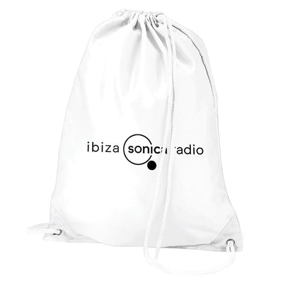 Sonica Black Landscape Logo Water Resistant Sports Gymsac Drawstring Day Bag-Ibiza Sonica Store