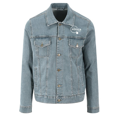 Sonica White Logo Front And Back Print Men's Denim Jacket-Ibiza Sonica Store