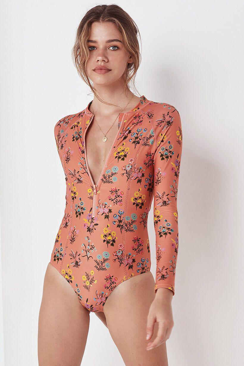 Spell Posy Long Sleeve One Piece Peach