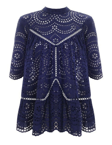 Zimmermann Paradiso Broderie Panelled Smock Navy