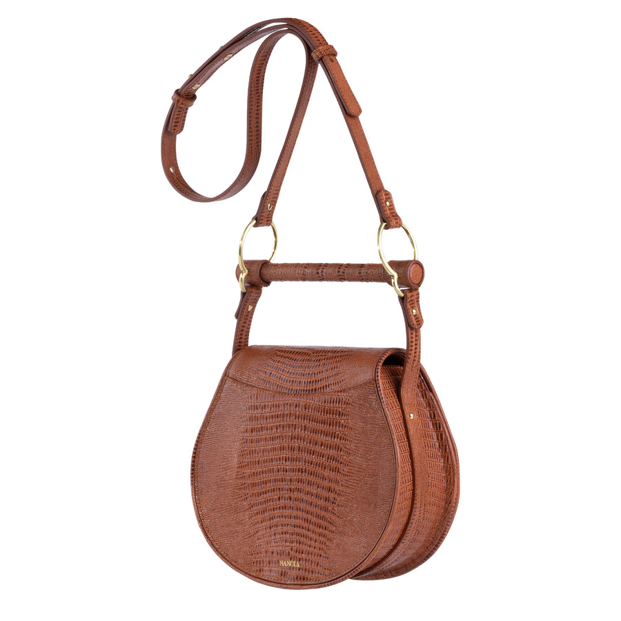 Sancia The Babylon Bar Bag Muse Antique Tan Lizard