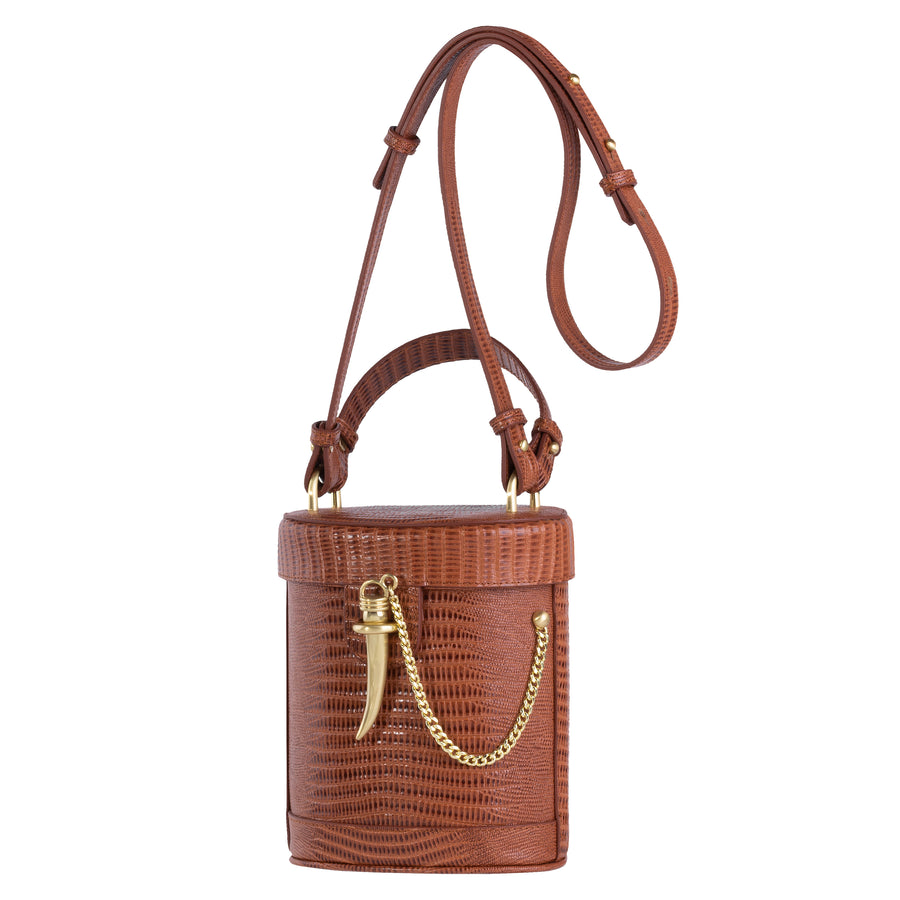 Sancia The Camillo Bucket Bag Antique Tan Lizard