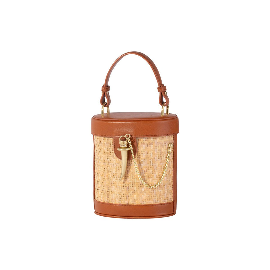Sancia The Camillo Bucket Bag Cognac Rattan