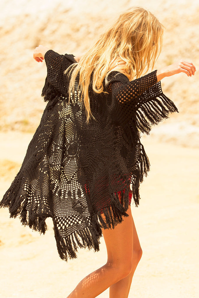 Spell Mandala Crochet Coat Black - Call Me The Breeze - 3