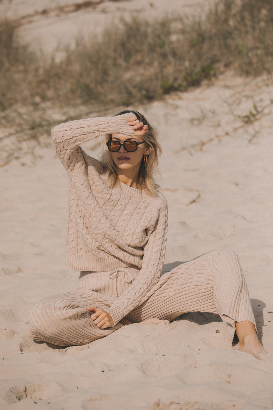Saint Helena Wategos Cable Knit Pant Sand Beige