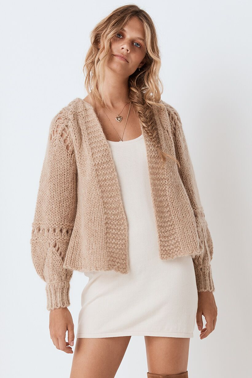 Spell Surf Shack Knit Cardigan Taupe