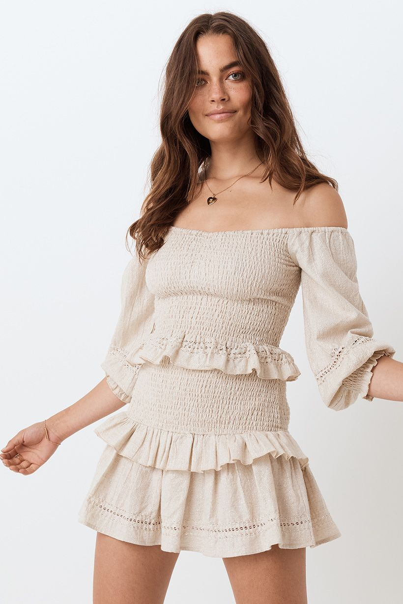 Spell Lola Ruched Off Shoulder Top Biscuit