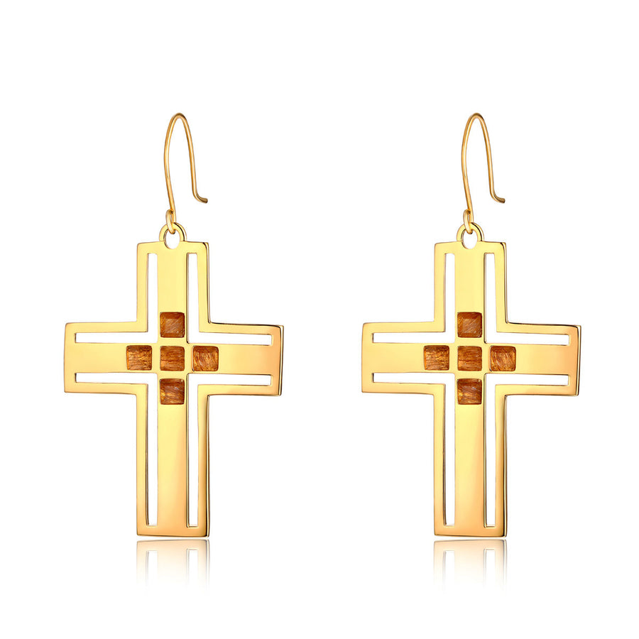 F and H Richie Cross Earring Gold Quartz - Call Me The Breeze - 1