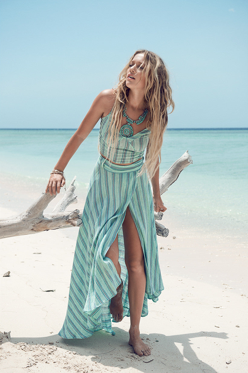 Spell Island Boho Wrap Skirt Turquoise - Call Me The Breeze - 1