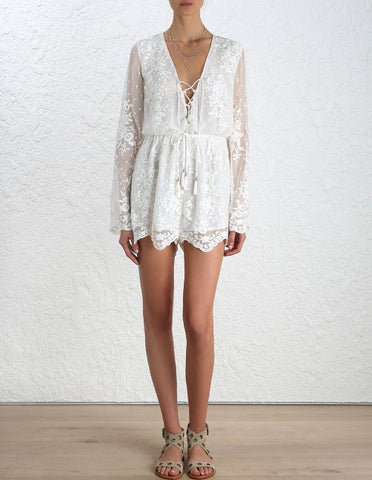Zimmermann Roza Silk Veil Playsuit - Call Me The Breeze - 1