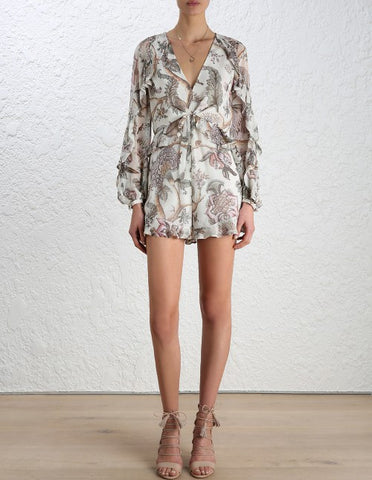 Zimmermann Karmic Flounce Playsuit Indienne Floral - Call Me The Breeze - 1