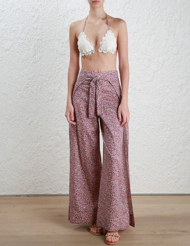 Zimmermann Caravan Split Pant Pink Floral - Call Me The Breeze - 1