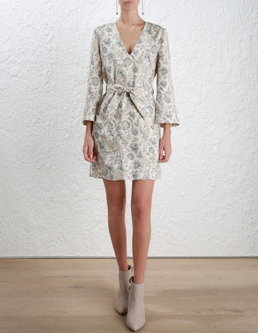Zimmermann Stranded Shift Dress Ivory Paisley