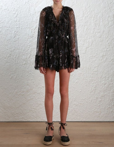 Zimmermann Paradiso Floating Playsuit Black