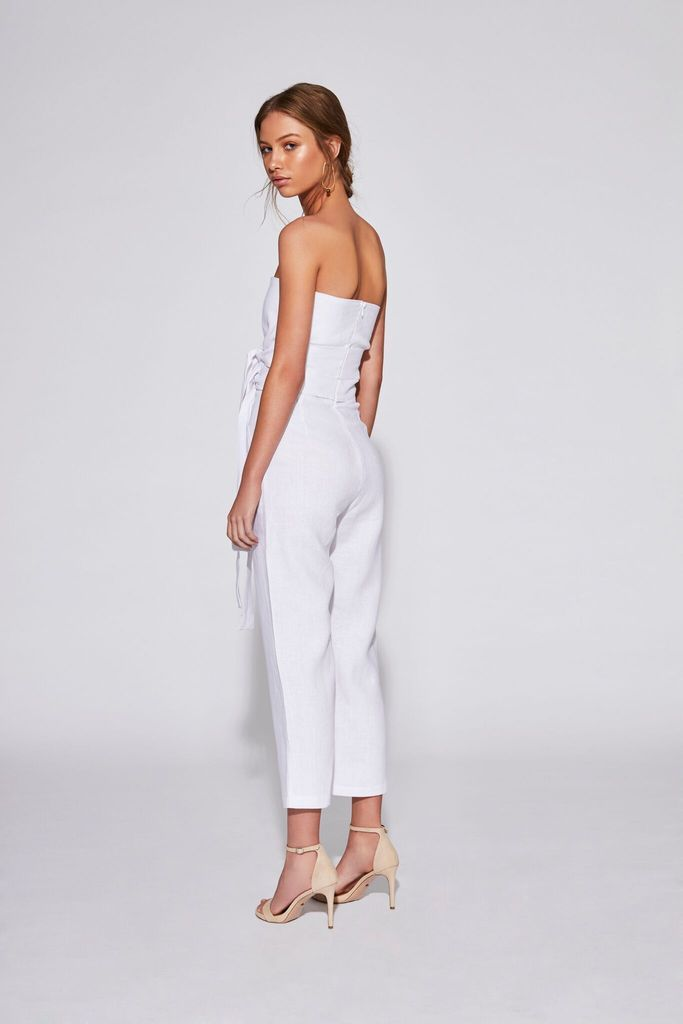Sir The Label Ines Strapless Jumpsuit White