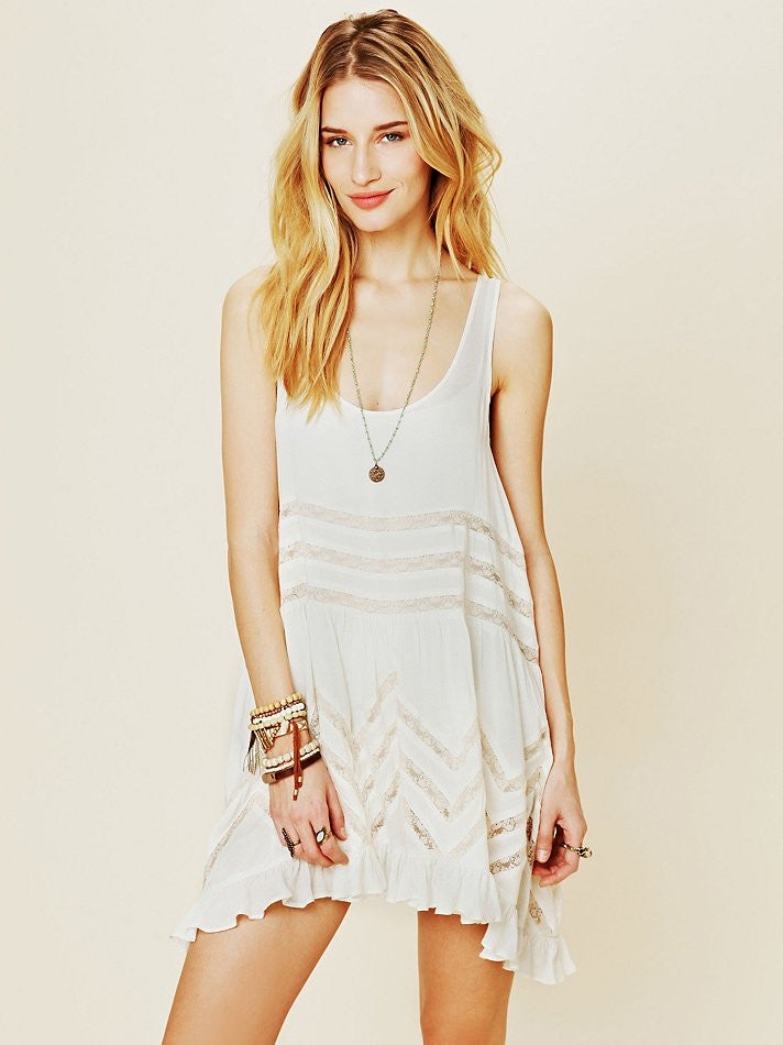 Free People Lace Trapeze Slip Tea Combo - Call Me The Breeze