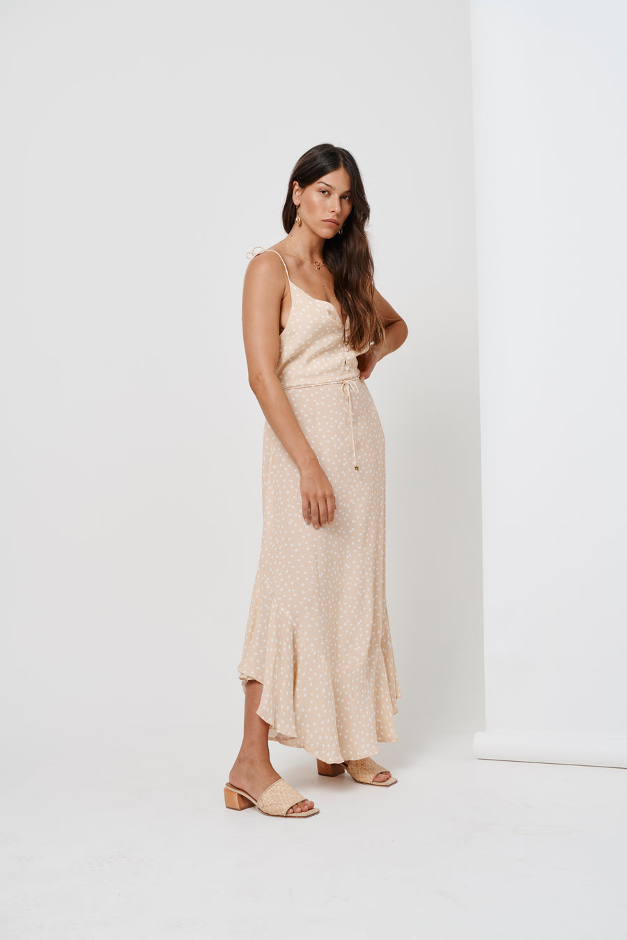 Kivari Jolie Maxi Dress Nude Polka