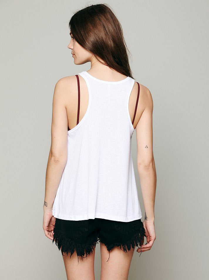 Free People Long Beach Tank White - Call Me The Breeze