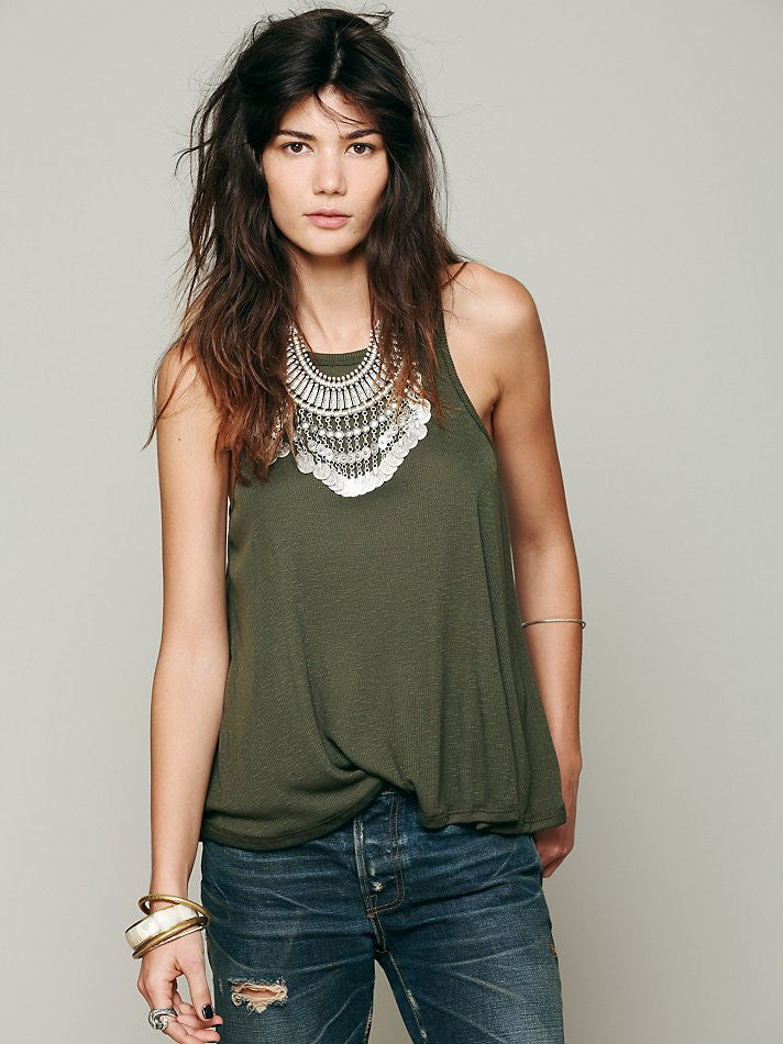 Free People Long Beach Tank Dark Olive - Call Me The Breeze - 2