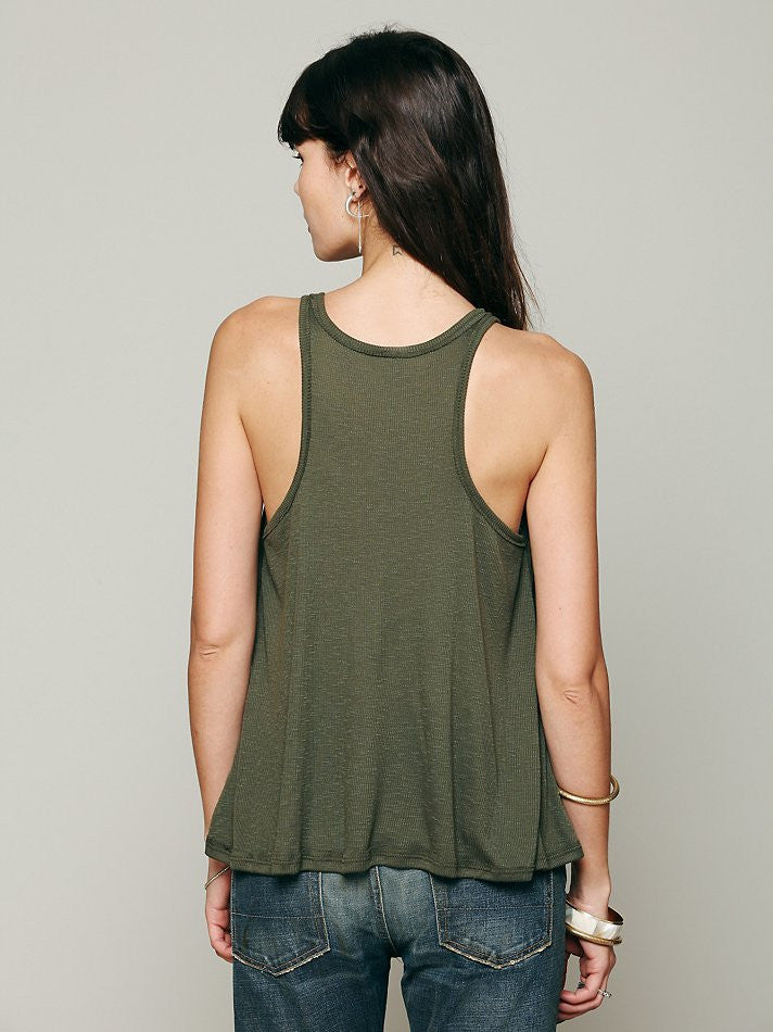 Free People Long Beach Tank Dark Olive - Call Me The Breeze - 3
