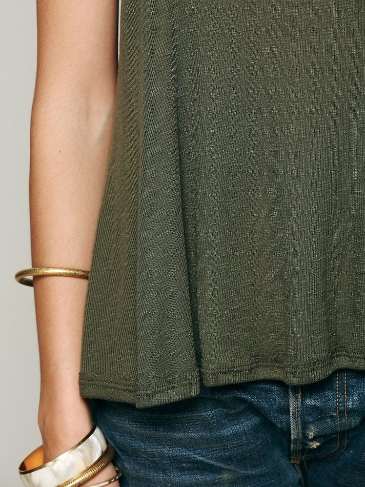 Free People Long Beach Tank Dark Olive - Call Me The Breeze