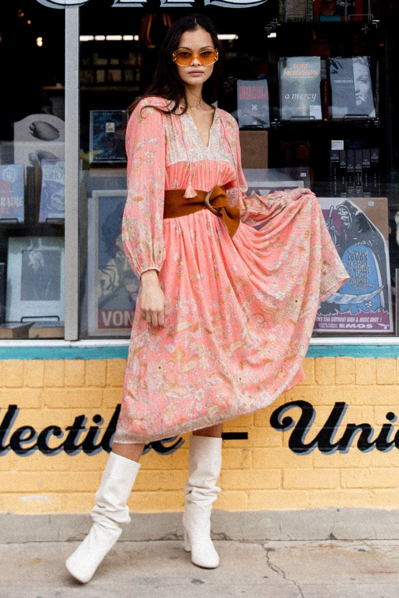 Spell Hendrix Boho Dress Dusty Pink