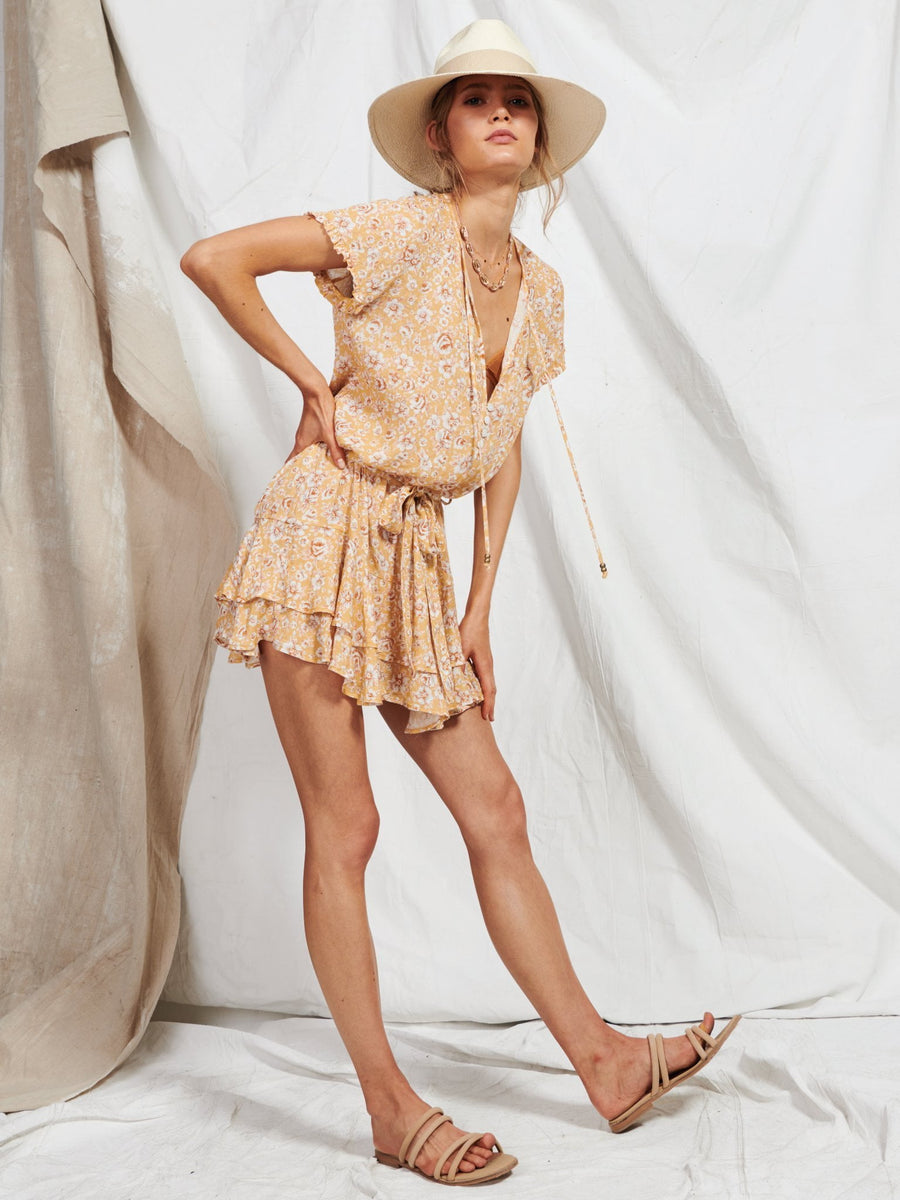 Kivari Freya Mini Dress Peach Floral
