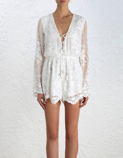 Zimmermann Roza Silk Veil Playsuit - Call Me The Breeze - 3