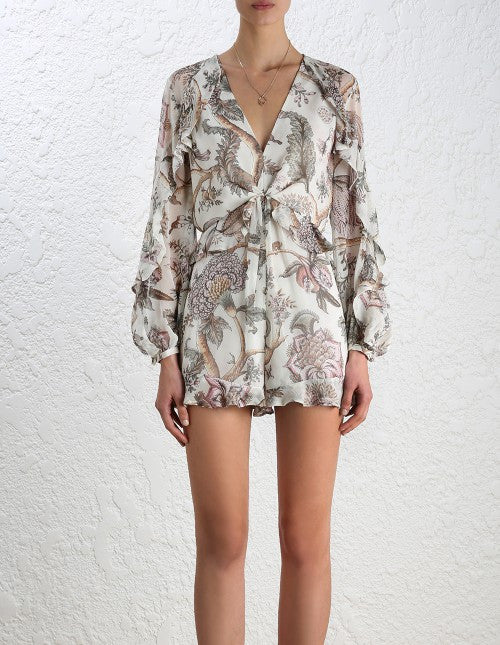 Zimmermann Karmic Flounce Playsuit Indienne Floral - Call Me The Breeze - 3