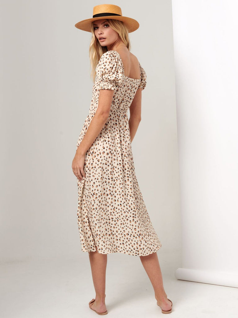 Kivari Valentina Button Front Midi Dress Cream Leopard