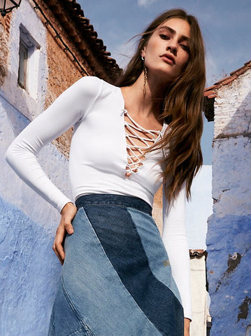 Free People Lace Up Layering Top White - Call Me The Breeze - 2
