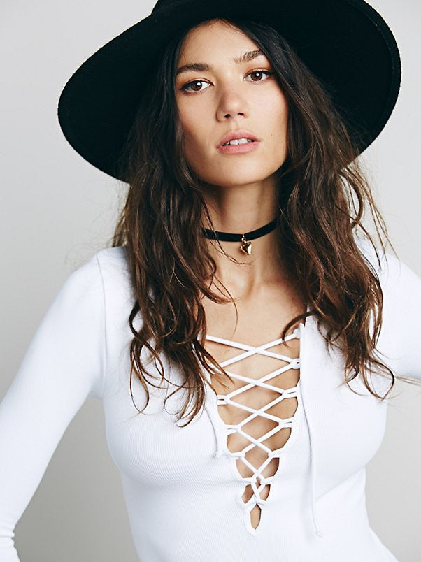 Free People Lace Up Layering Top White - Call Me The Breeze - 4