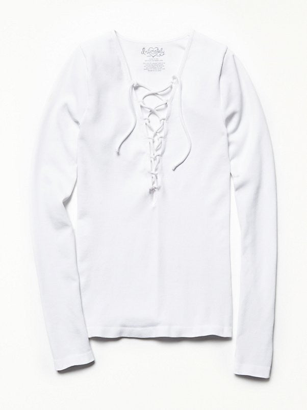Free People Lace Up Layering Top White - Call Me The Breeze