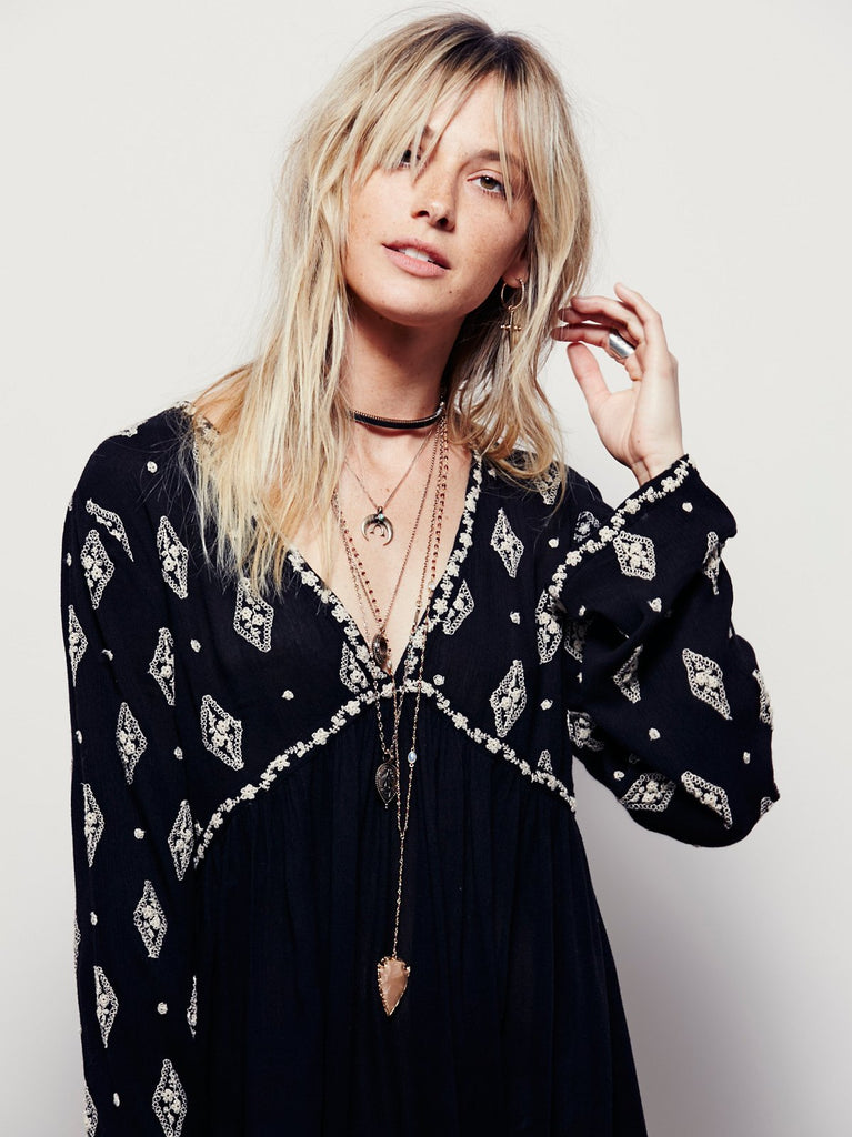Free People Diamond Embroidered Tunic Black