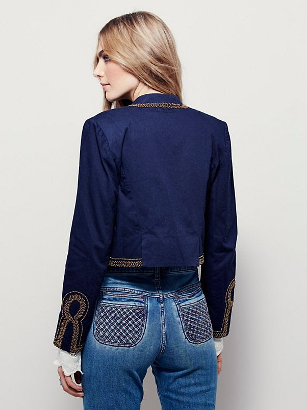 Free People Embellished Band Jacket - Call Me The Breeze