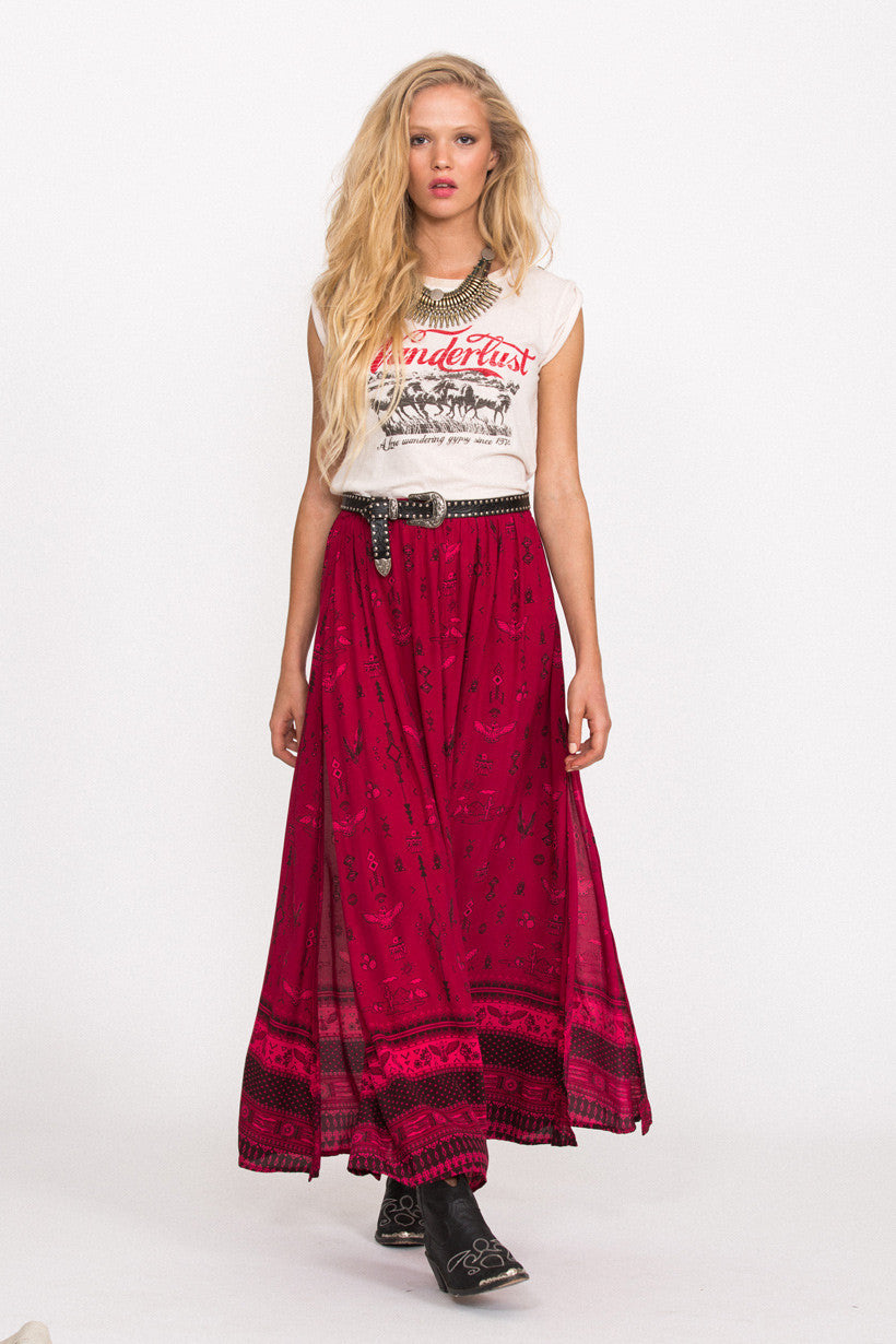 Spell Phoenix Maxi Skirt Magenta - Call Me The Breeze - 4