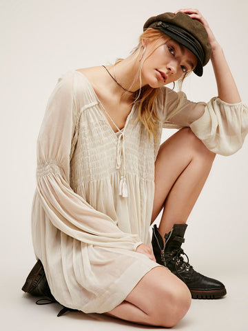 Free People Lini Smocked Mini Dress Grey