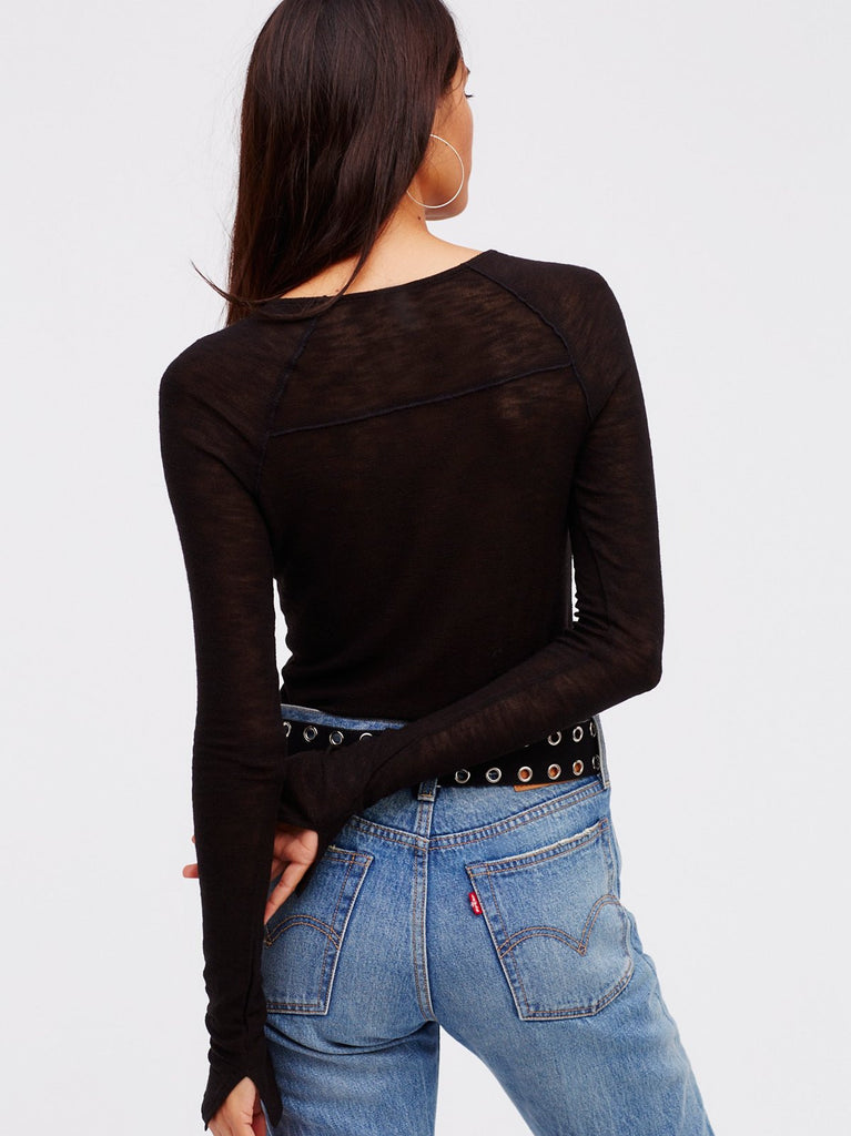 Free People Bae Bae Layering Top Black - Call Me The Breeze - 2