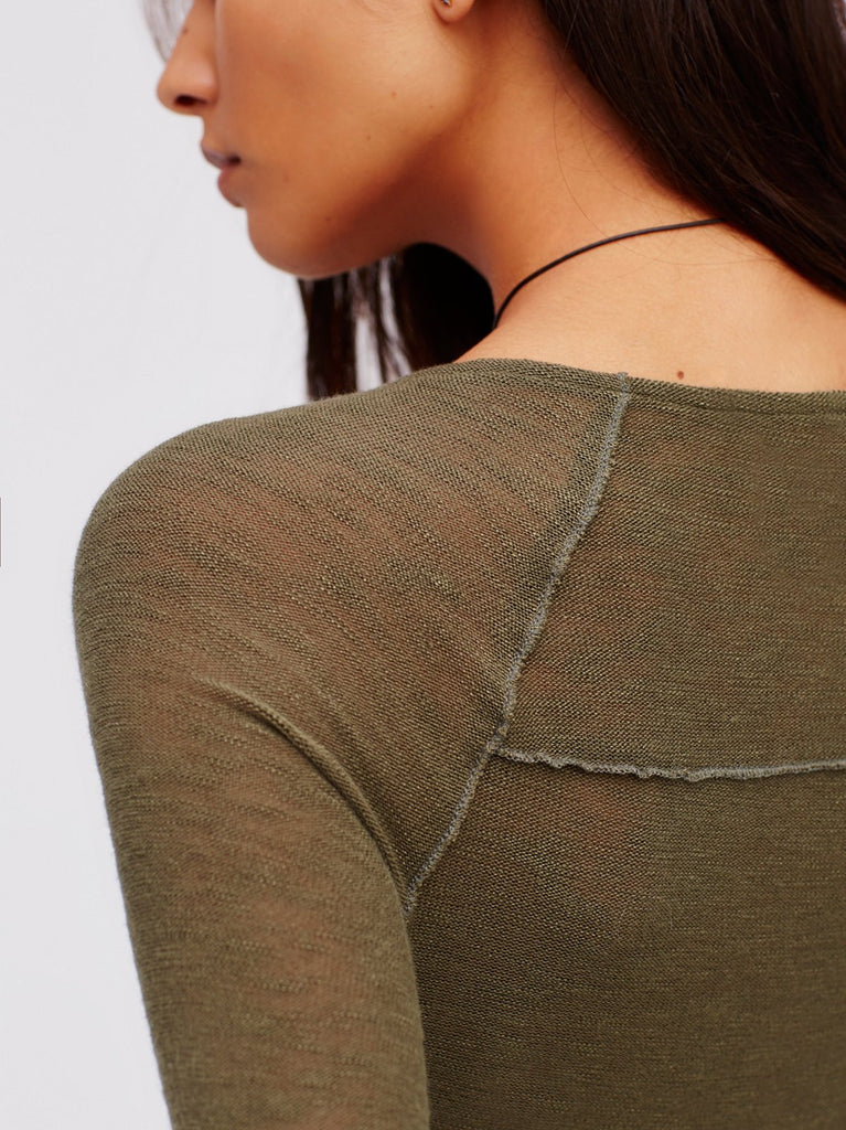 Free People Bae Bae Layering Top Olive - Call Me The Breeze - 4