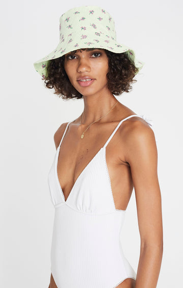 Faithfull Bettina Bucket Hat Luda Floral Print Lime