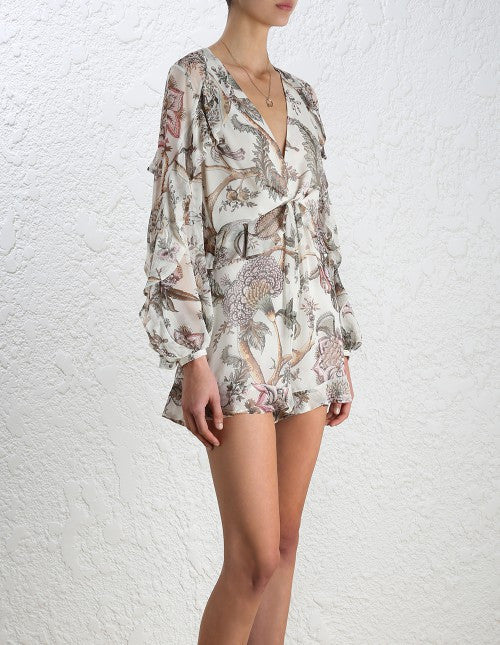 Zimmermann Karmic Flounce Playsuit Indienne Floral - Call Me The Breeze - 4