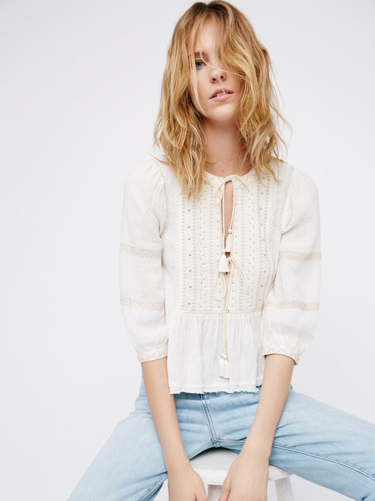 Free People The Wild Life Embroidered Top Ivory - Call Me The Breeze - 4