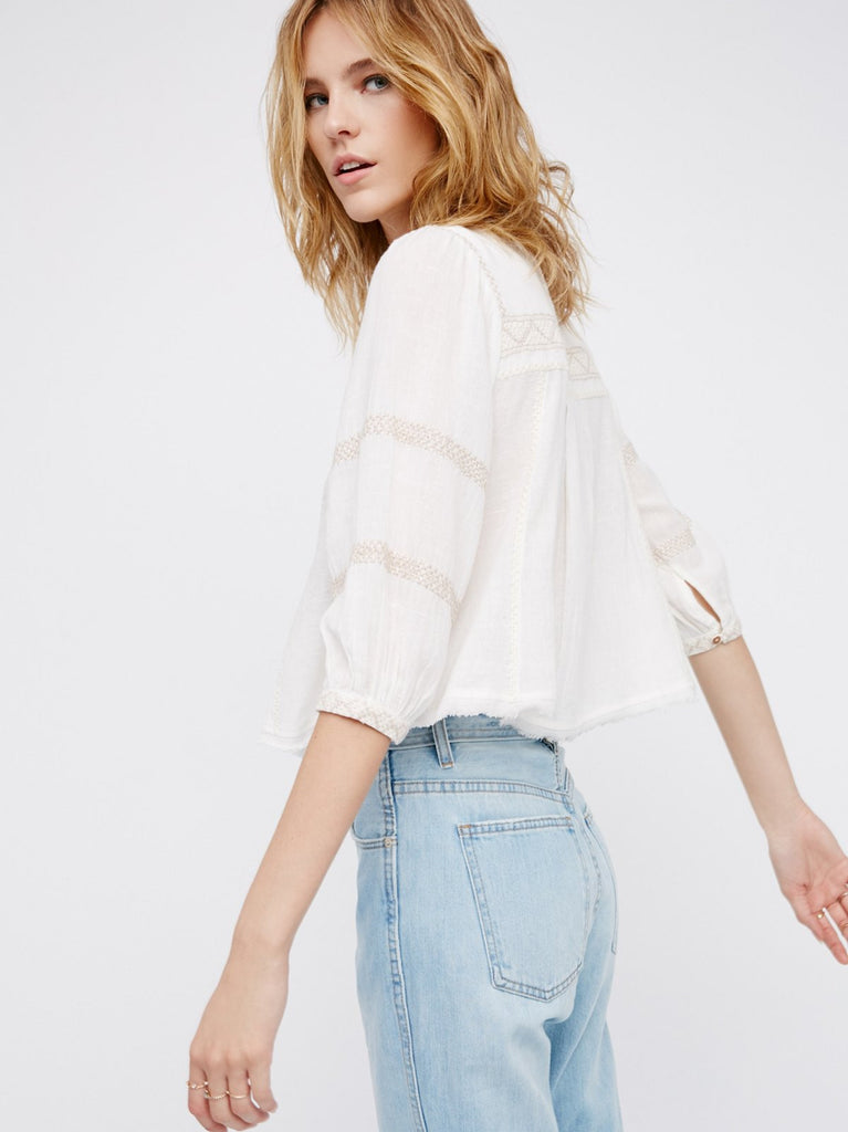 Free People The Wild Life Embroidered Top Ivory - Call Me The Breeze - 2