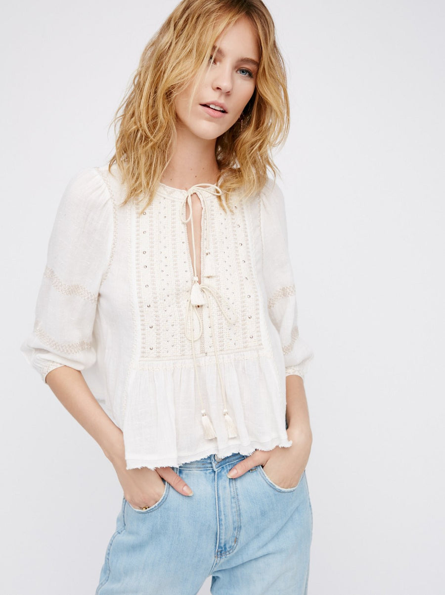 9f727f00cf Free People The Wild Life Embroidered Top Ivory - Call Me The Breeze - 1 ...