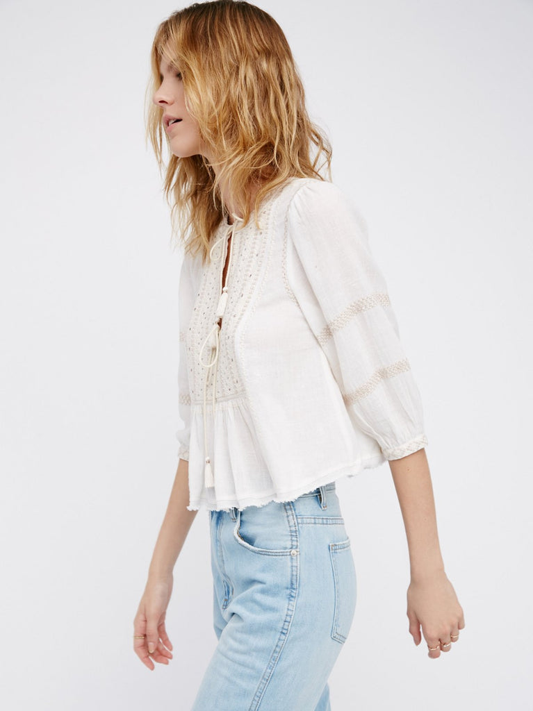 Free People The Wild Life Embroidered Top Ivory - Call Me The Breeze - 5