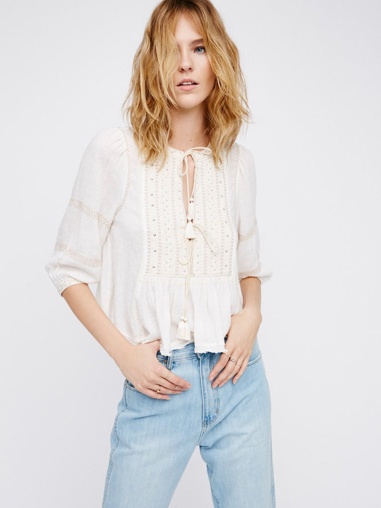 Free People The Wild Life Embroidered Top Ivory - Call Me The Breeze - 3