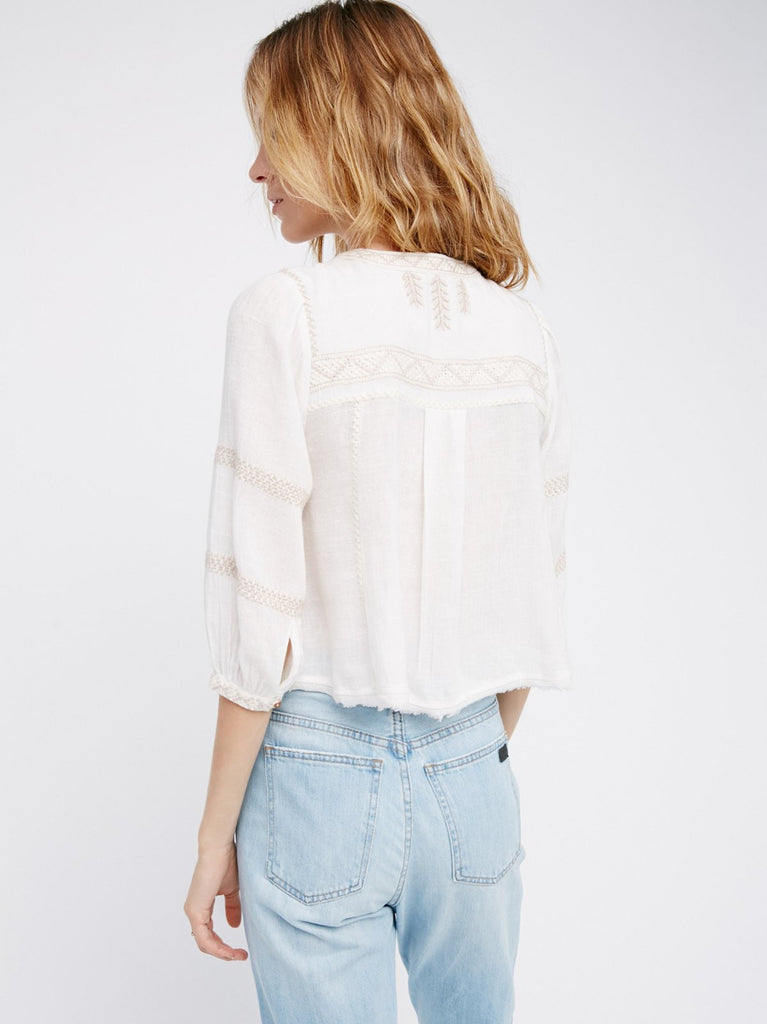 Free People The Wild Life Embroidered Top Ivory - Call Me The Breeze - 6