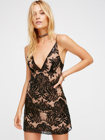 Free People Night Shimmer Mini Dress Black - Call Me The Breeze - 1