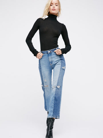 Free People Patchwork Skinny Jean