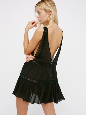 Free People Look of Love Slip Black